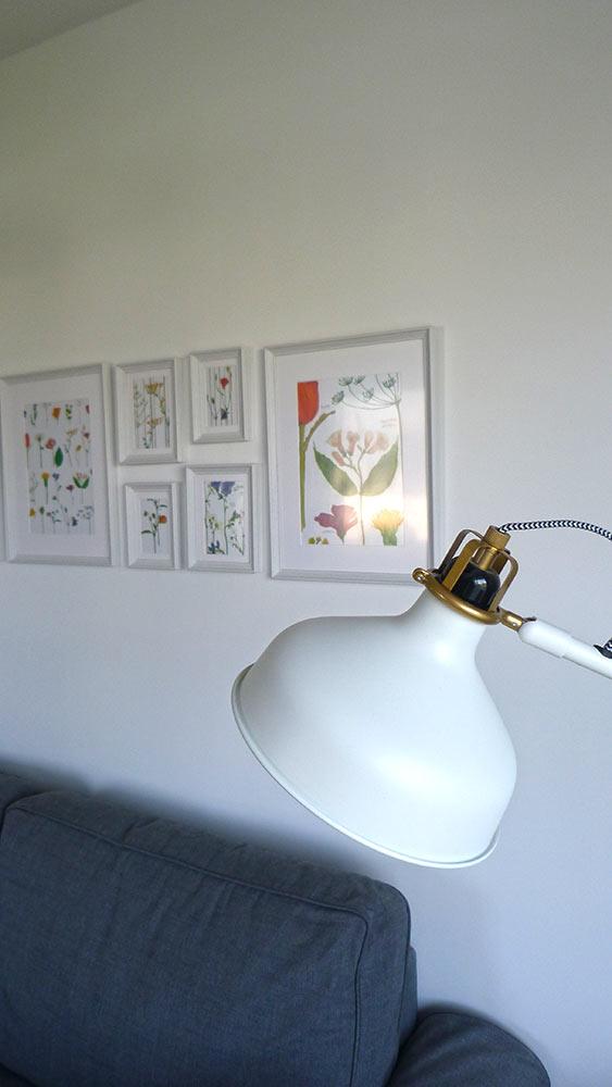 Planches de botanique en décor et lampe, le tout provenat de chez Ikéa